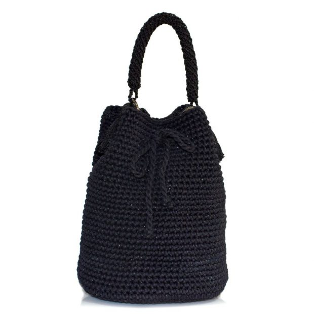 bailloo Shimmery Black Handmade knitted pouch BLP730