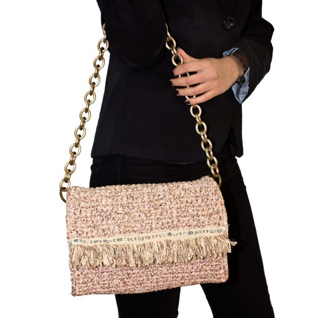 Beige Handmade knitted bag BLM704 3