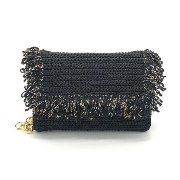 Black Handmade knitted bag BLM709