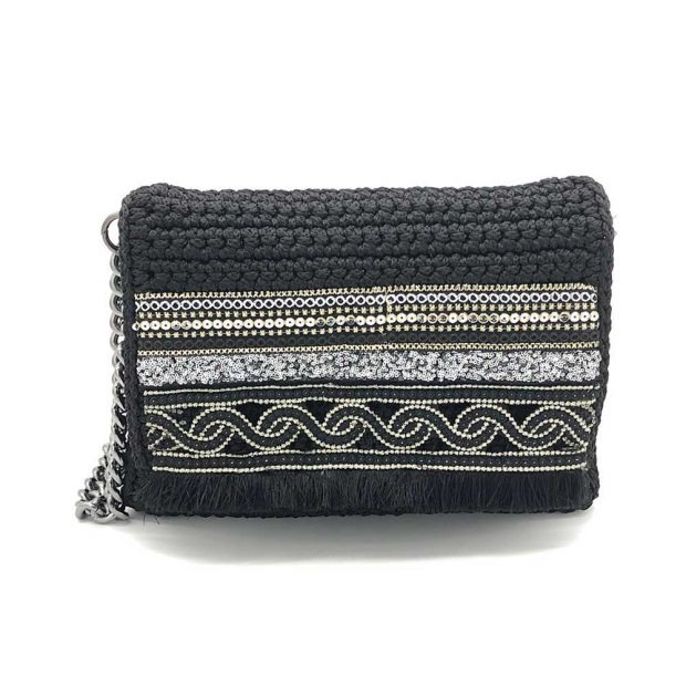 Black Handmade knitted bag BLM717