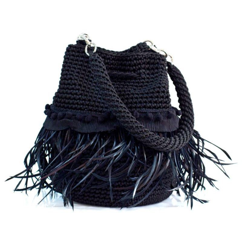 bailloo Black Handmade knitted pouch with feathers BLP731