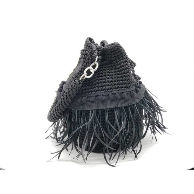 Black-Handmade-knitted-pouch-with-feathers-BLP731-2