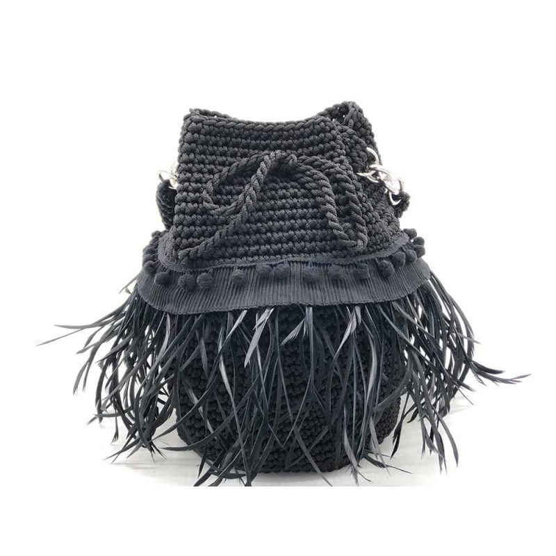 Black Handmade knitted pouch with feathers BLP731