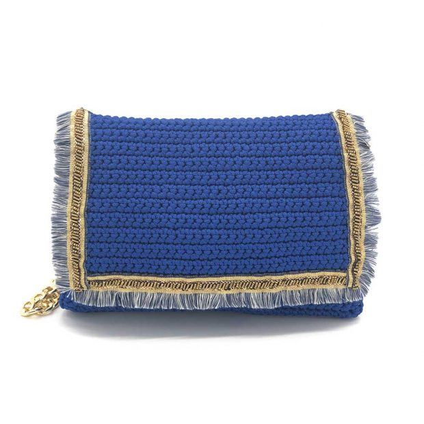 Blue Handmade knitted bag BLS706