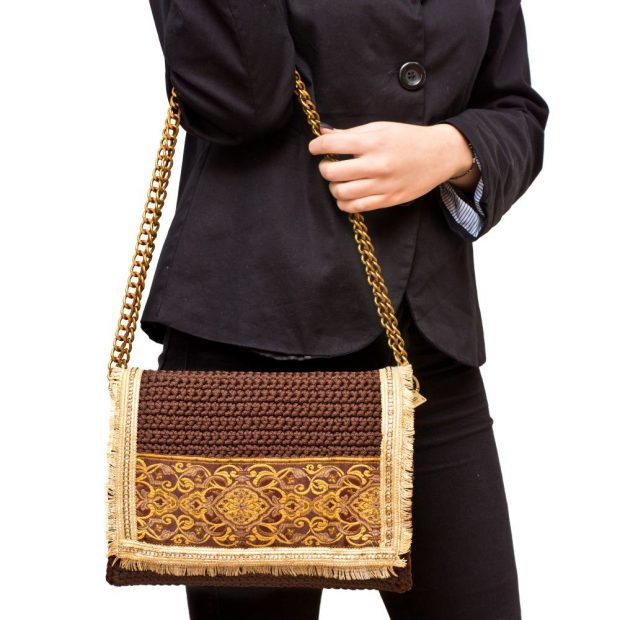 Brown Handmade knitted bag BLM718 3