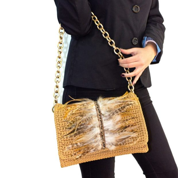 Camel Handmade knitted bag BLM711 3