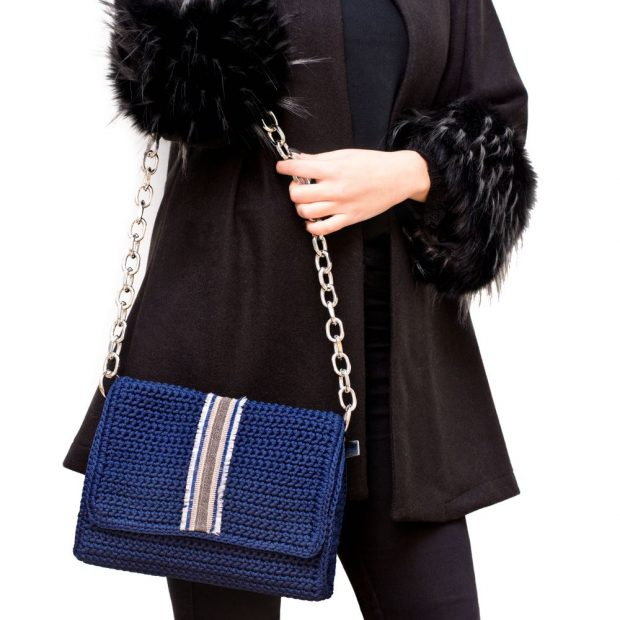 Dark Blue Handmade knitted bag BLT712 3