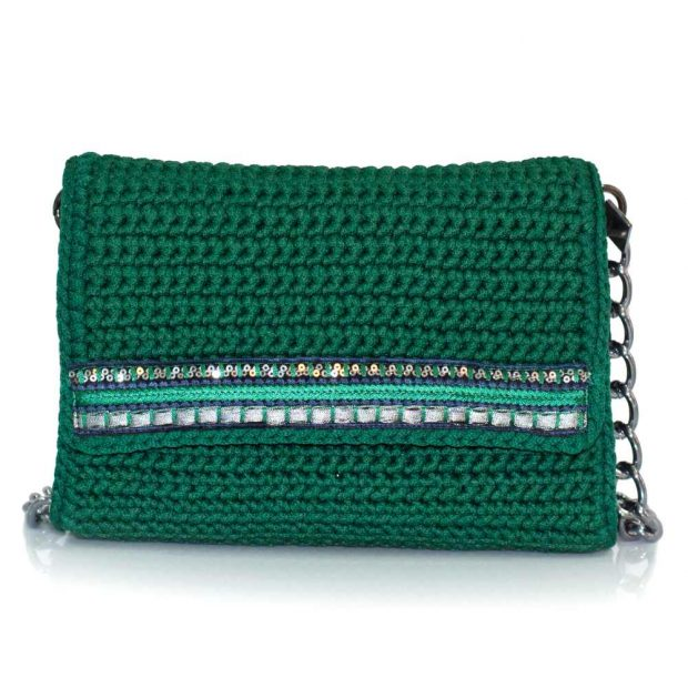 bailloo Dark Green Handmade knitted bag BLS713
