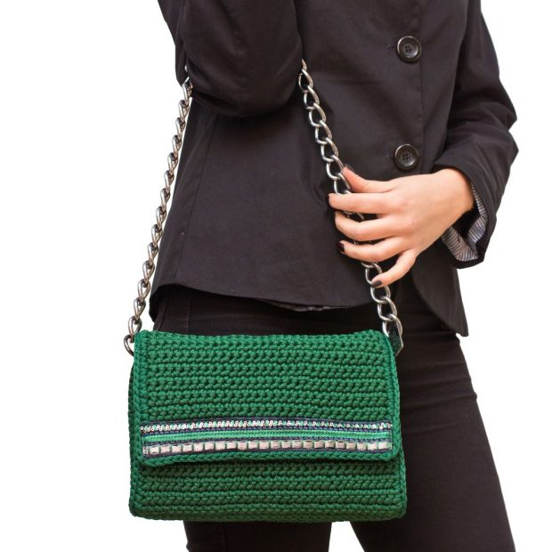 Dark Green Handmade knitted bag BLS713 3