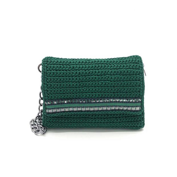 Dark Green Handmade knitted bag BLS713