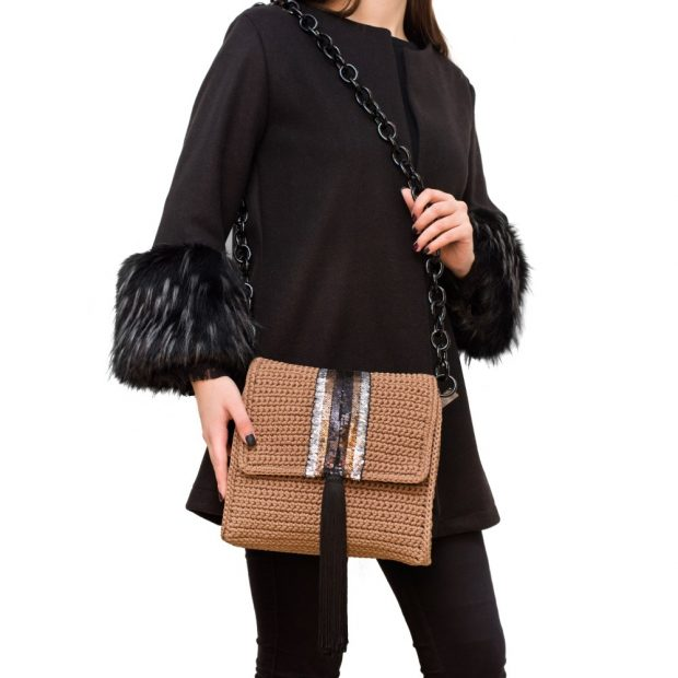 Light Brown Square Handmade knitted bag BLT702 3