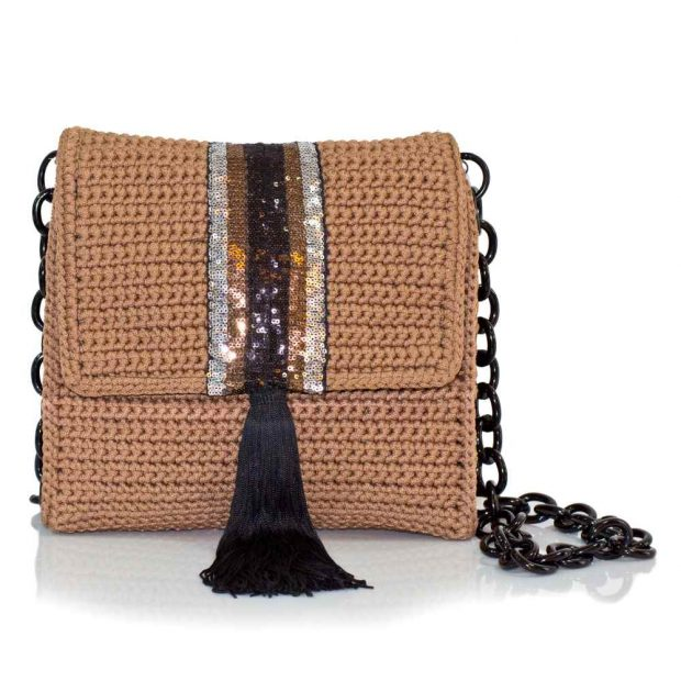 bailloo Light Brown Square Handmade knitted bag BLT702