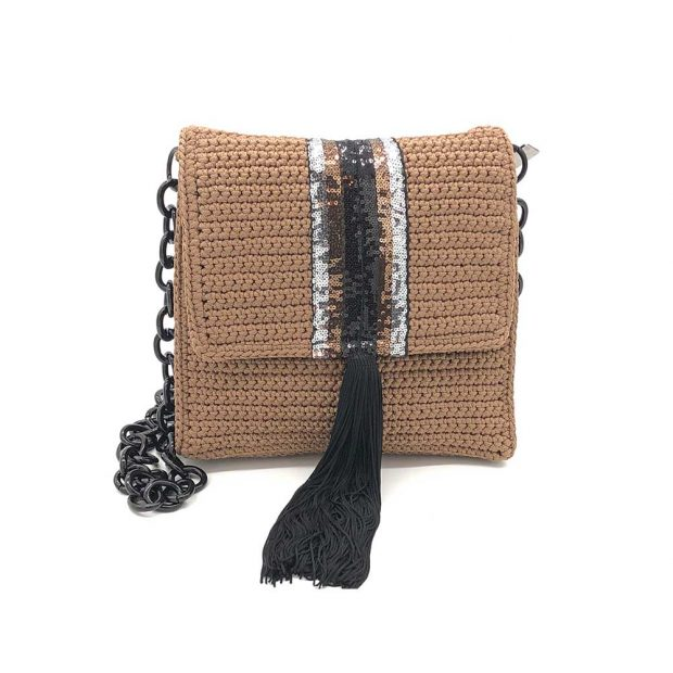 Light Brown Square Handmade knitted bag BLT702