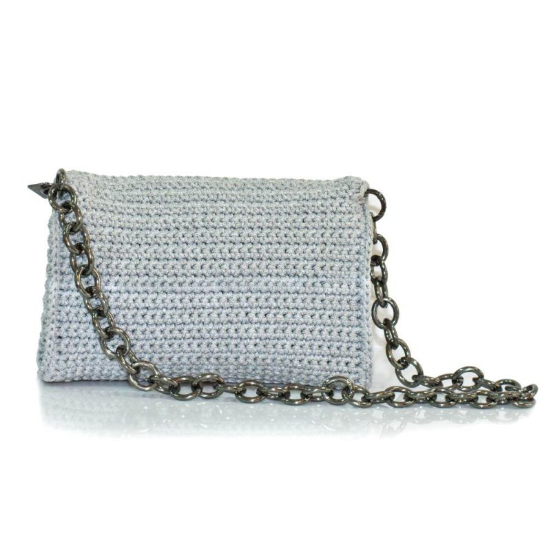 bailloo Light Grey Handmade knitted bag with black fur BLS723