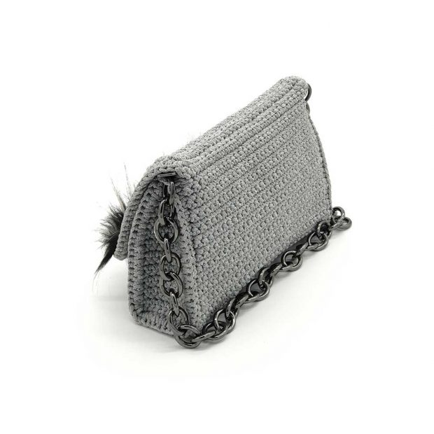 Light-Grey-Handmade-knitted-bag-with-black-fur-BLS723-3