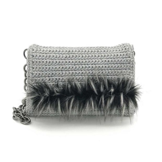 Light Grey Handmade knitted bag with black fur BLS723