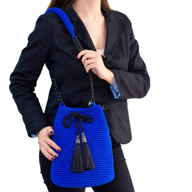 Royal Blue Handmade knitted pouch BLP728 3