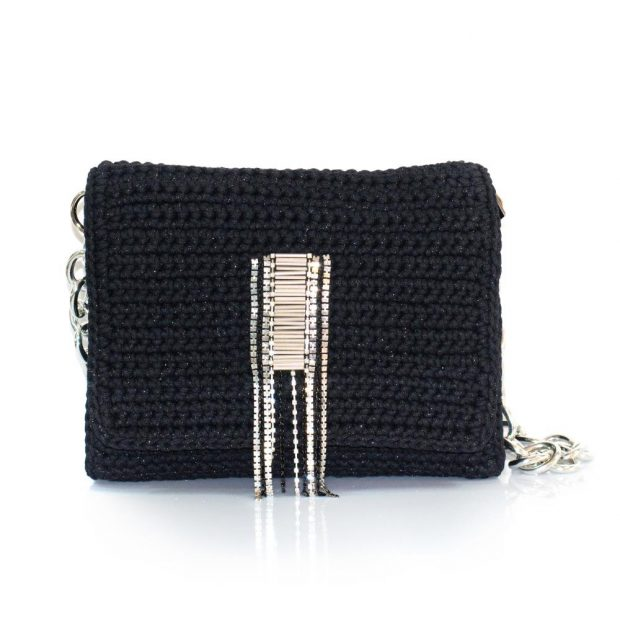 Bailloo Shimmery Black Handmade knitted bag BLM715