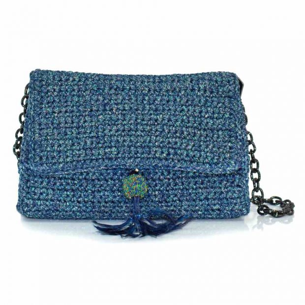 bailloo Shimmery Blue Handmade knitted bag BLM726