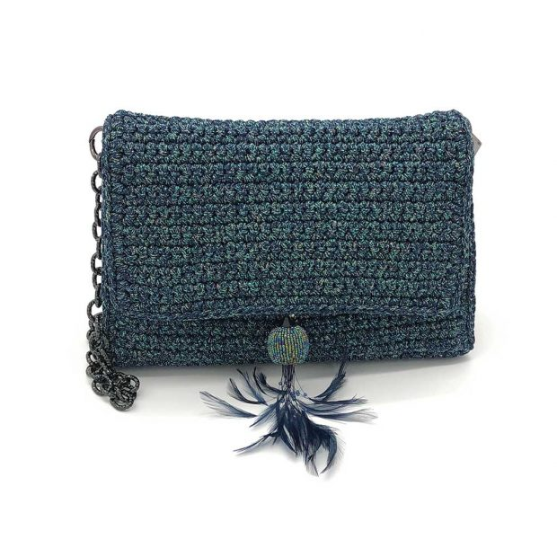 Shimmery Blue Handmade knitted bag BLM726