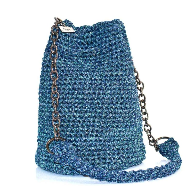 Shimmery Blue Handmade knitted pouch BLP721
