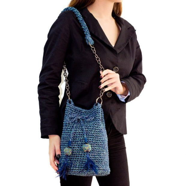 Shimmery Blue Handmade knitted pouch BLP721 4