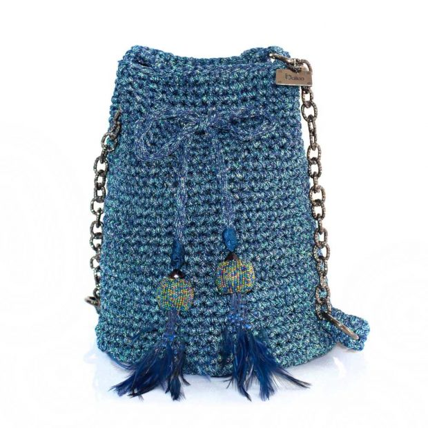 Bailloo Shimmery Blue Handmade knitted pouch BLP721
