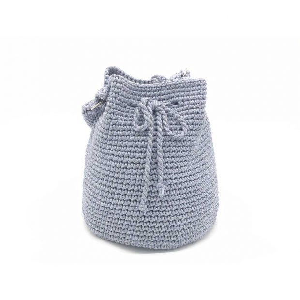 Shimmery Silver-Grey Handmade knitted pouch BLP724