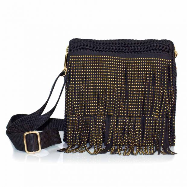 bailloo Square Black Handmade knitted bag BLT716