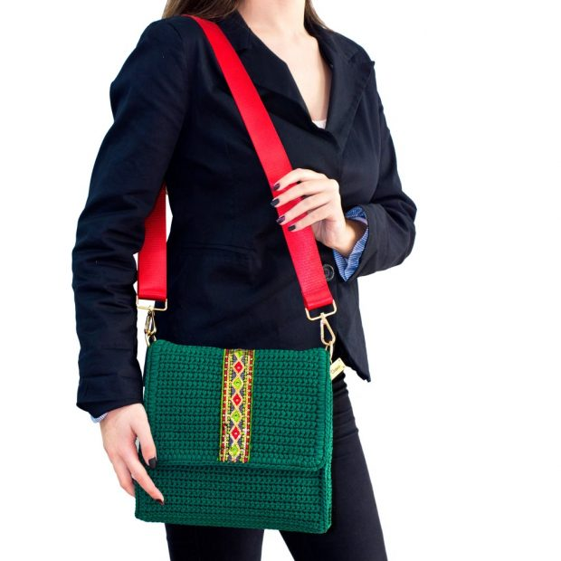 Square Dark Green Handmade knitted bag BLT708 3