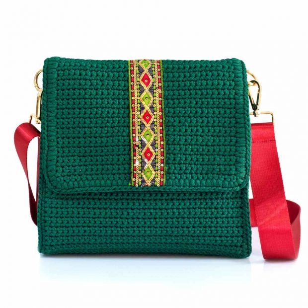 bailloo Square Dark Green Handmade knitted bag BLT708