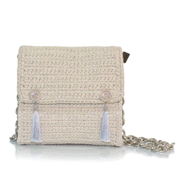 bailloo Square Ecru-Silver Handmade knitted bag BLT701