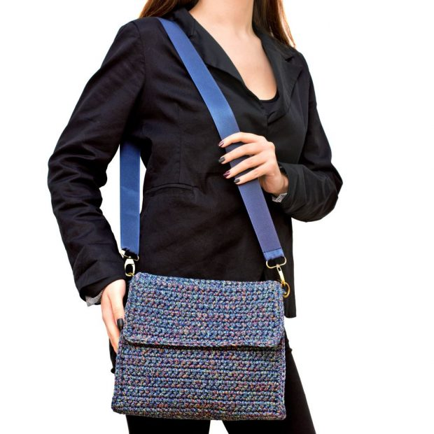 Square Multicolored Handmade knitted bag BLT725 3