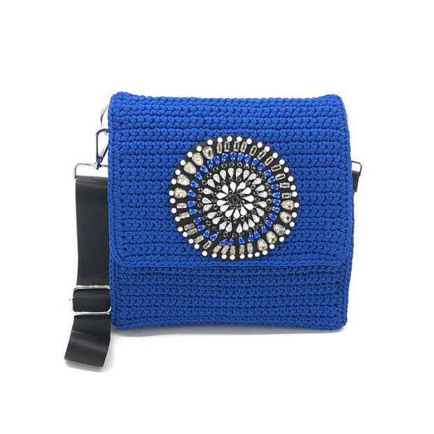 Square Handmade knitted bag with pattern BLT707