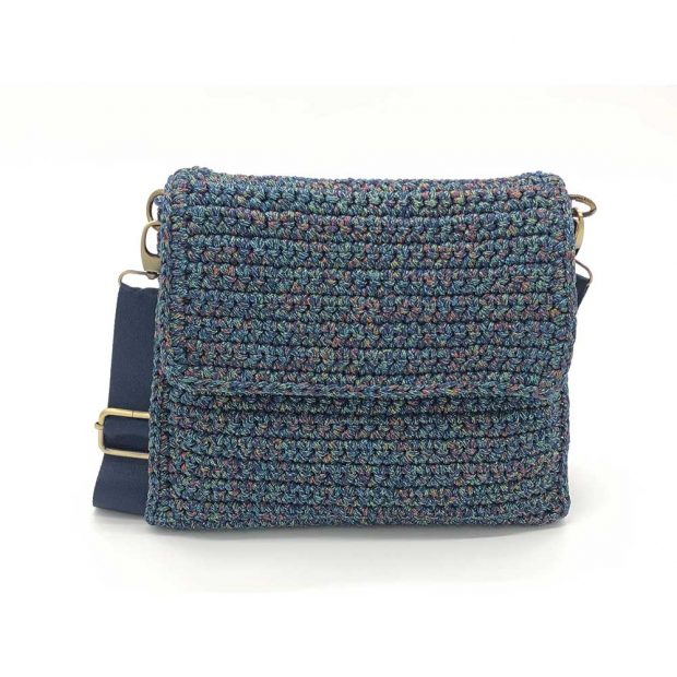 Square Multicolored Handmade knitted bag BLT725