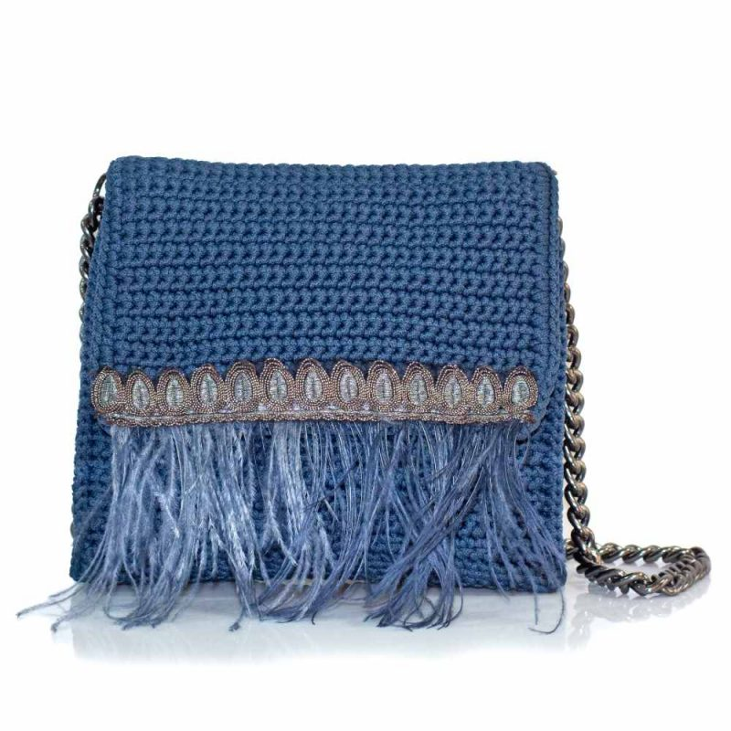 bailloo Square Grey-Blue Handmade knitted bag BLT719