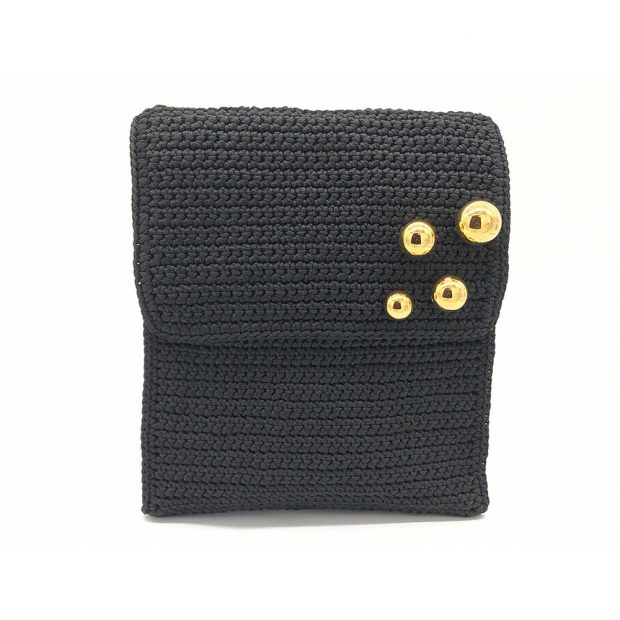 Black handmade knitted backpack BLBC740