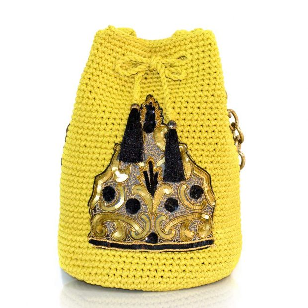 Bailloo Dark Yellow handmade knitted pouch BLP748