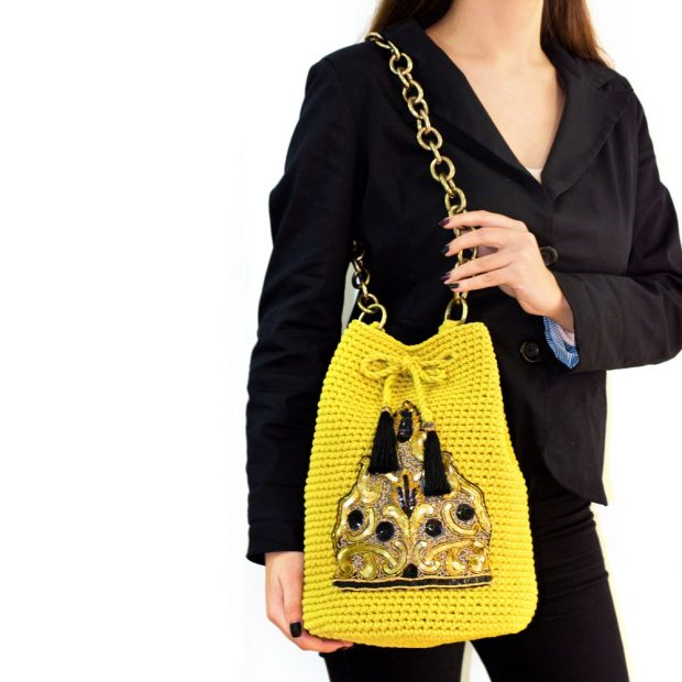 Dark Yellow handmade knitted pouch BLP748 3