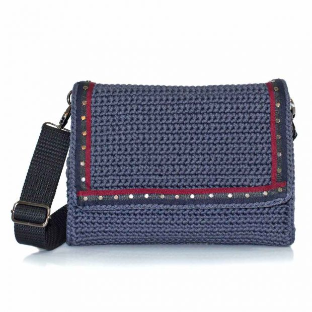 bailloo Grey handmade knitted bag BLΜ736