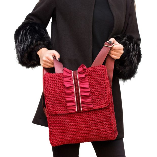 Light Garnet handmade knitted backpack BLBC744 3