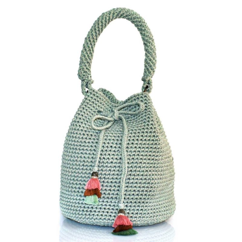 Bailloo Shimmery Grey handmade knitted pouch BLP747