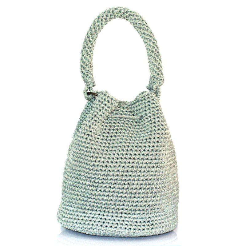 Shimmery Grey handmade knitted pouch BLP747