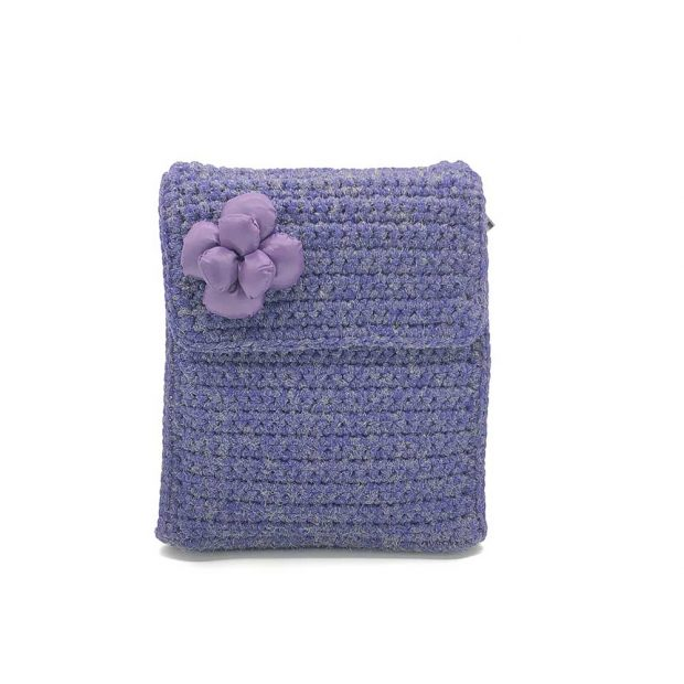 Shimmery Purple handmade knitted backpack BLBC746
