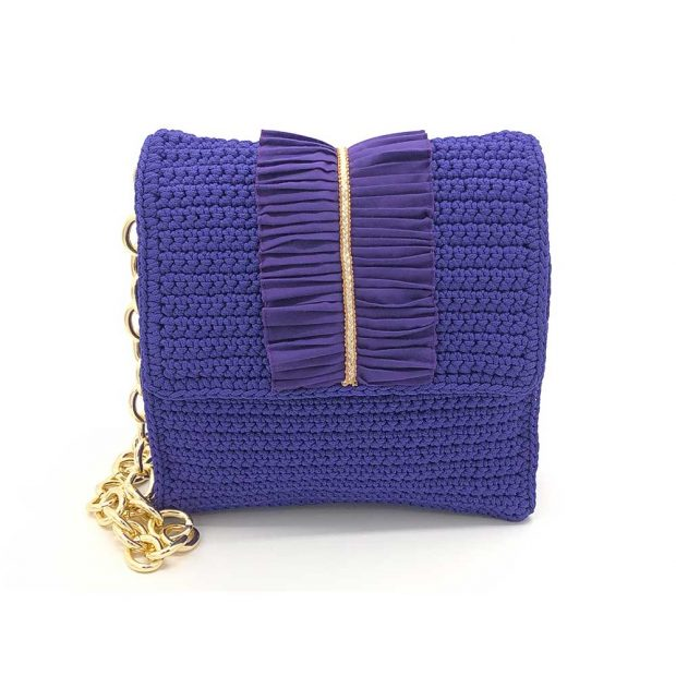 Square Dark Purple handmade knitted bag BLT737