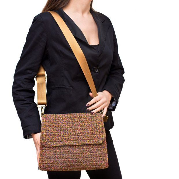 Square Multicolored Olive Color handmade knitted bag BLT738 3