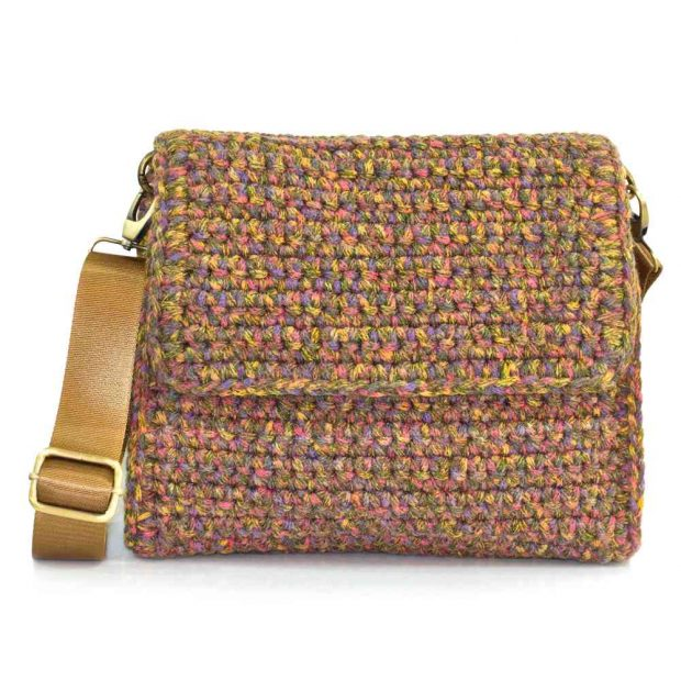 bailloo Square Multicolored Olive Color handmade knitted bag BLT738