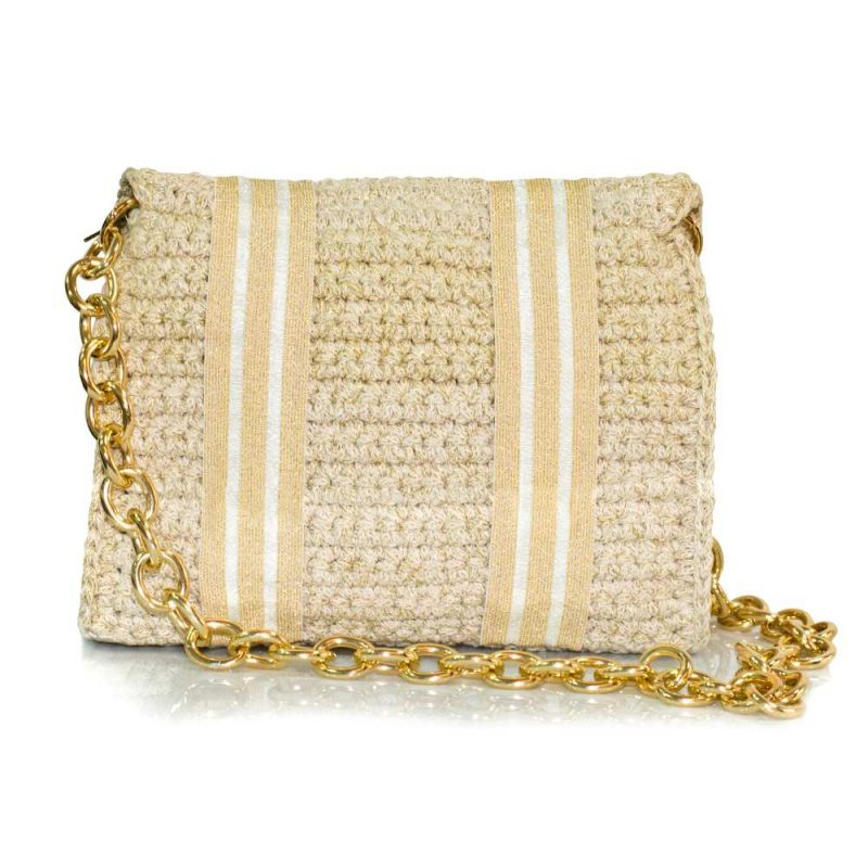 bailloo White-Gold handmade knitted bag BLM733