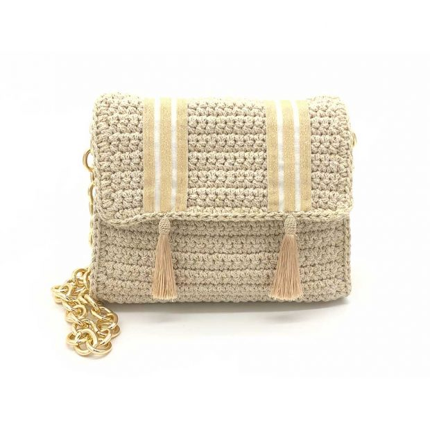 White-Gold handmade knitted bag BLM733